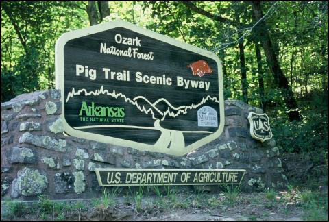 Ozark National Forest sign - Pig Trail Scenic Byway