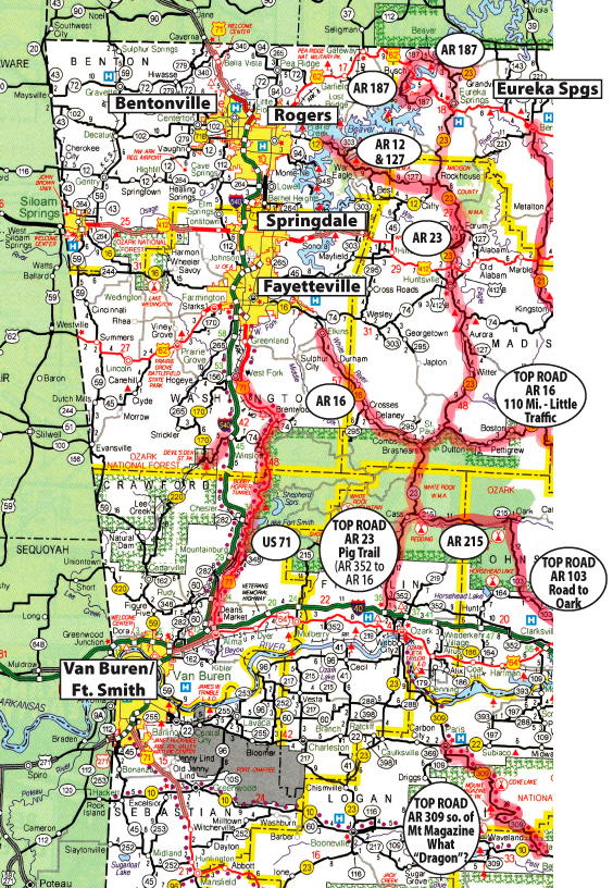 map of western arkansas Cruise The Ozarks Motorcyclist S Guide To Riding In The Ozark map of western arkansas